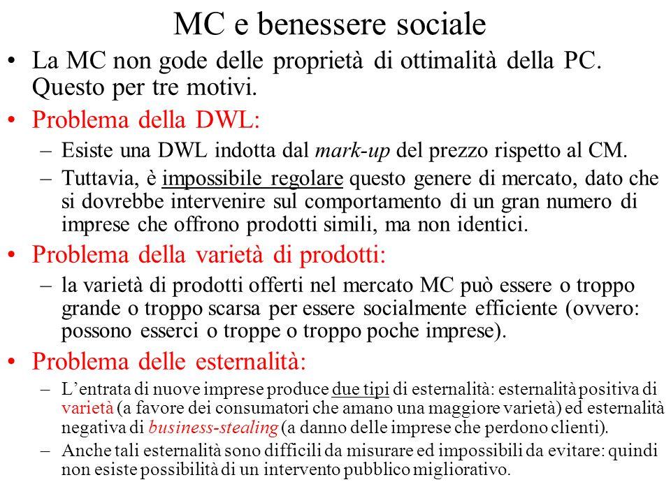 MC e benessere sociale La MC non gode delle proprietà di ottimalità della PC. Questo per tre motivi.