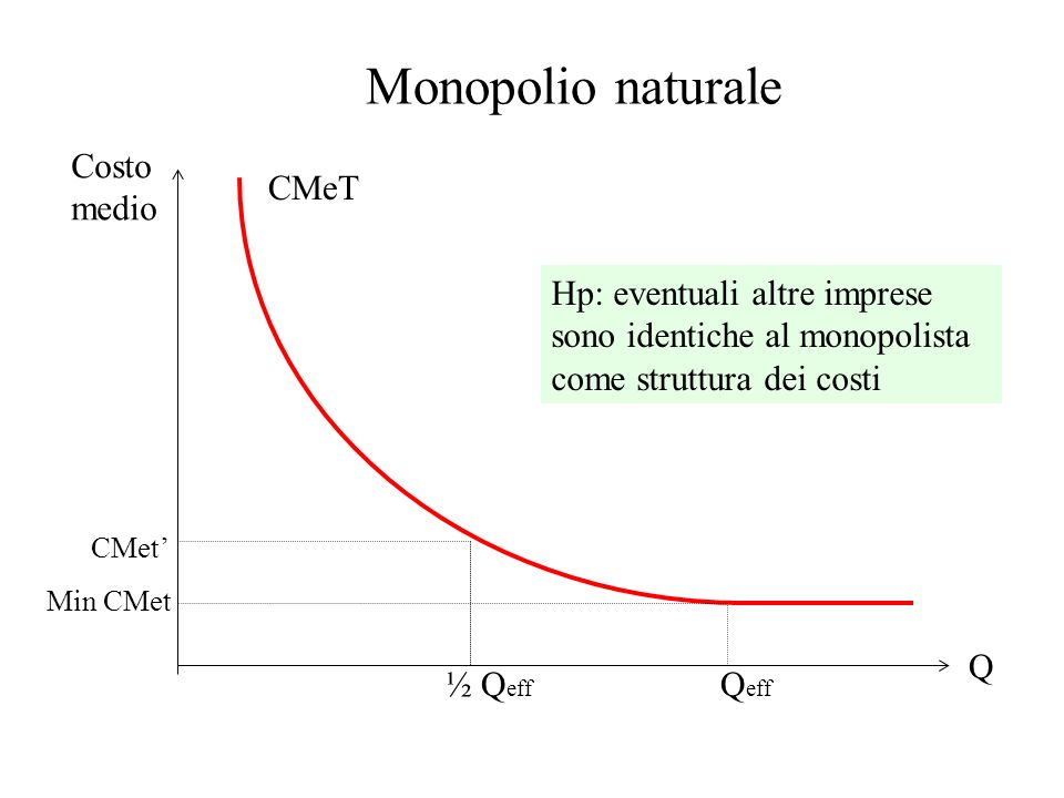 Monopolio naturale Costo medio CMeT