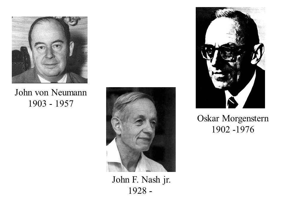 John von Neumann 1903 - 1957 Oskar Morgenstern 1902 -1976 John F. Nash jr. 1928 -