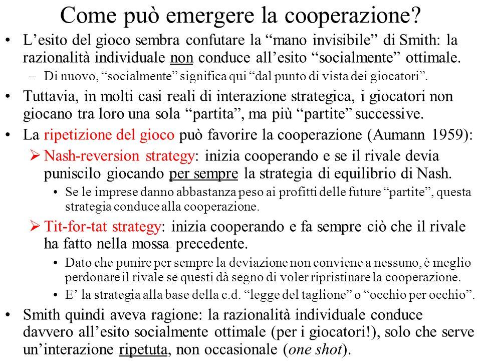 Come può emergere la cooperazione