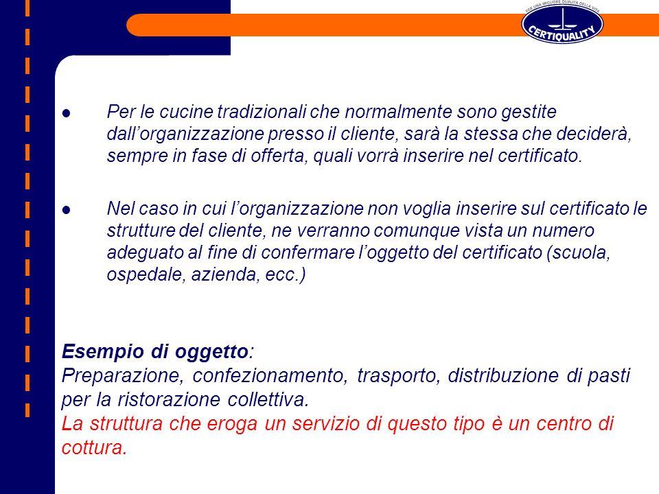 Per le cucine tradizionali che normalmente sono gestite dall'organizzazione presso il cliente, sarà la stessa che deciderà, sempre in fase di offerta, quali vorrà inserire nel certificato.