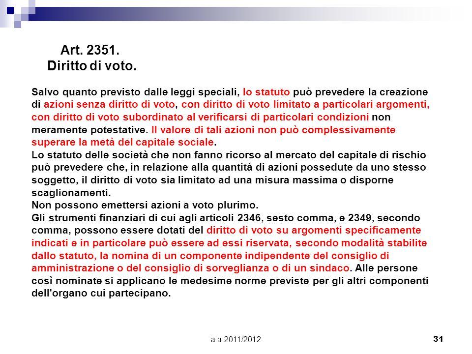 Art. 2351. Diritto di voto.
