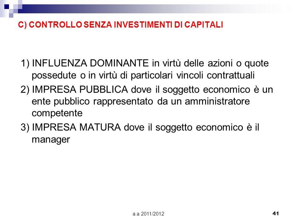 C) CONTROLLO SENZA INVESTIMENTI DI CAPITALI
