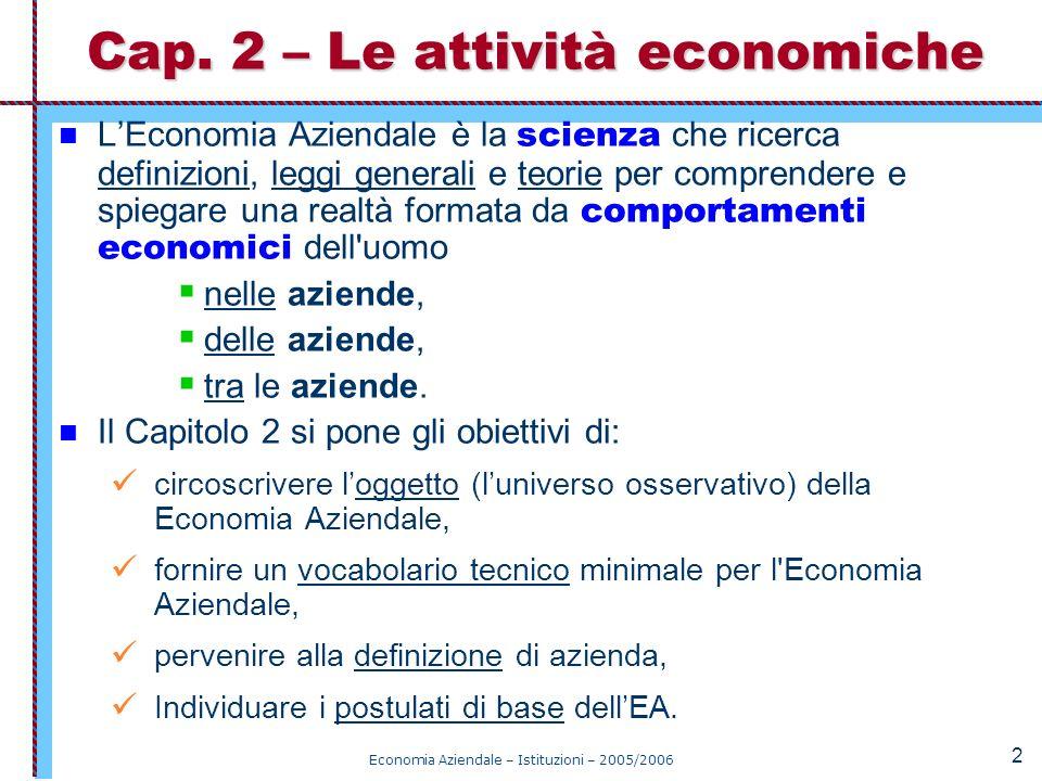 Cap. 2 – Le attività economiche