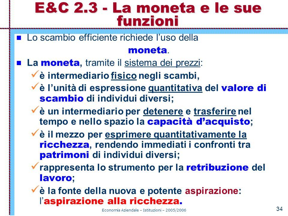 E&C 2.3 - La moneta e le sue funzioni