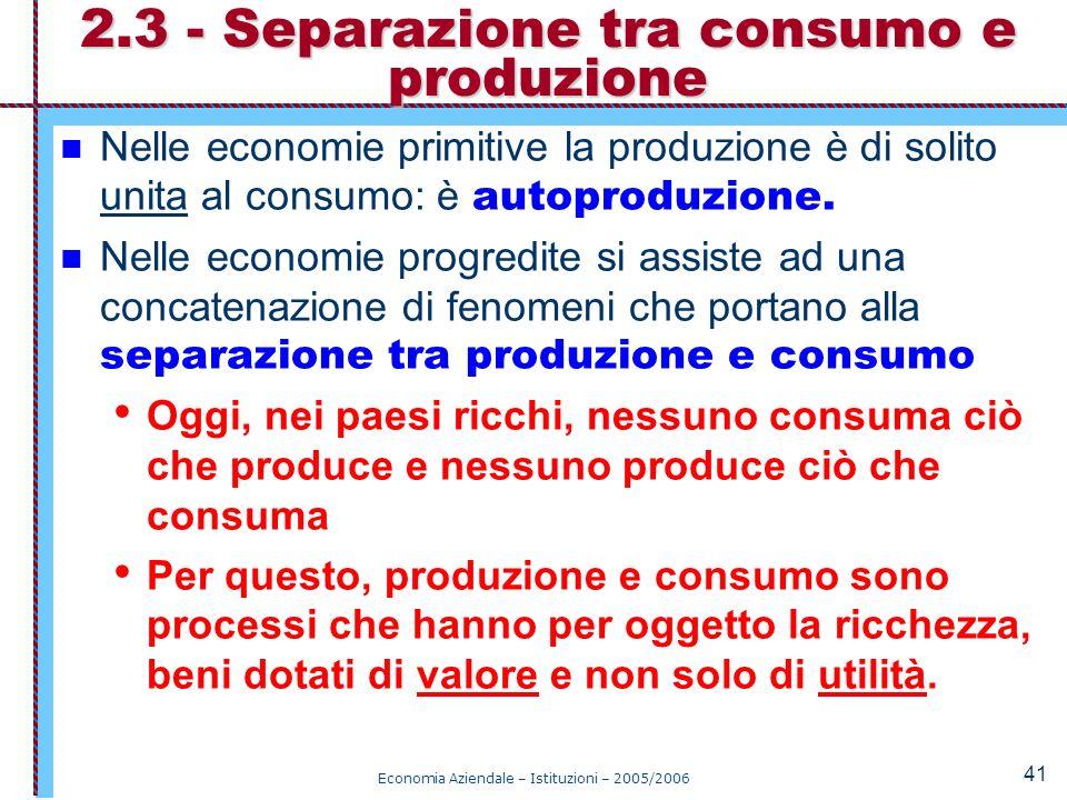2.3 - Separazione tra consumo e produzione