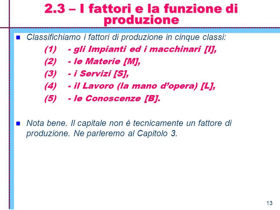 2.3 – I fattori e la funzione di produzione