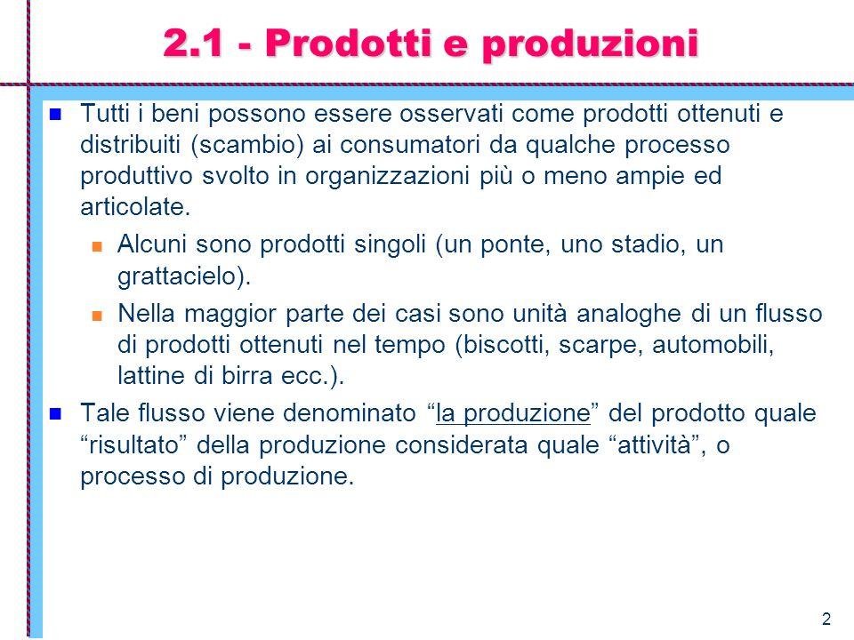 2.1 - Prodotti e produzioni