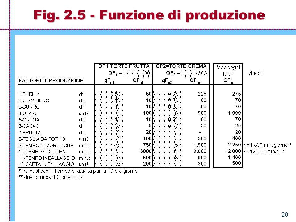 Fig. 2.5 - Funzione di produzione