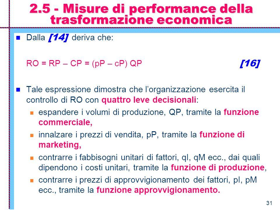 2.5 - Misure di performance della trasformazione economica