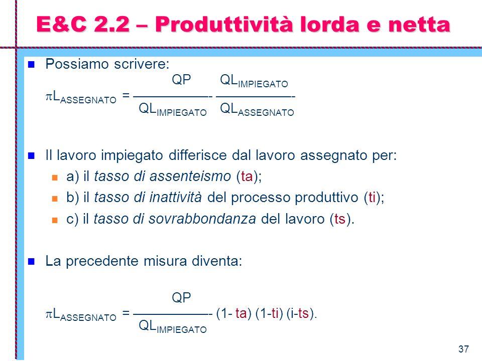 E&C 2.2 – Produttività lorda e netta