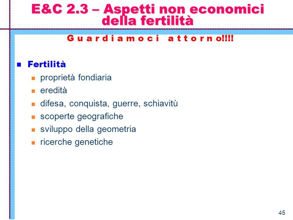 E&C 2.3 – Aspetti non economici della fertilità