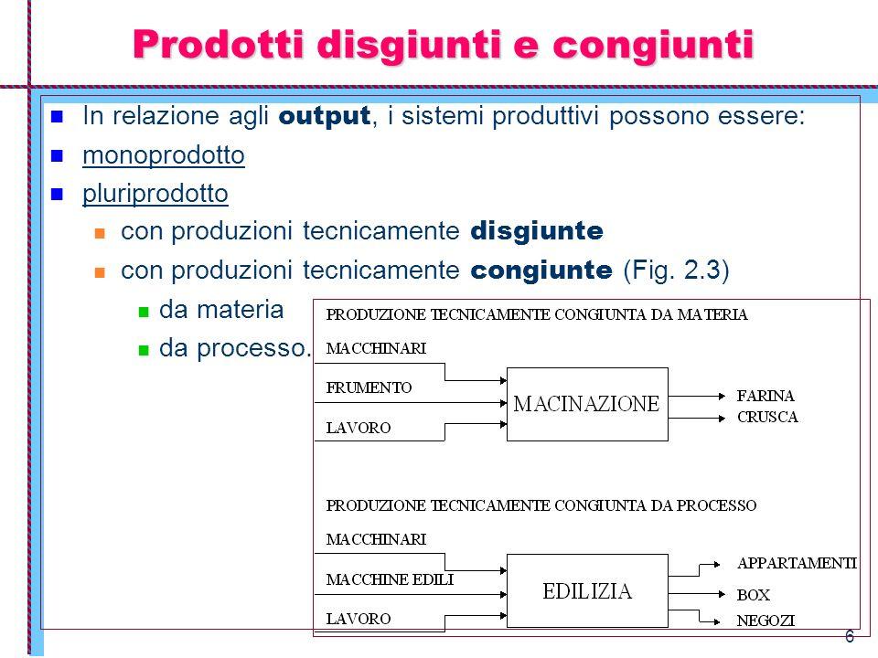 Prodotti disgiunti e congiunti
