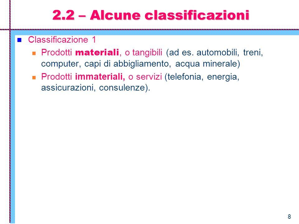 2.2 – Alcune classificazioni