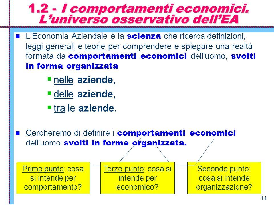 1.2 - I comportamenti economici. L'universo osservativo dell'EA