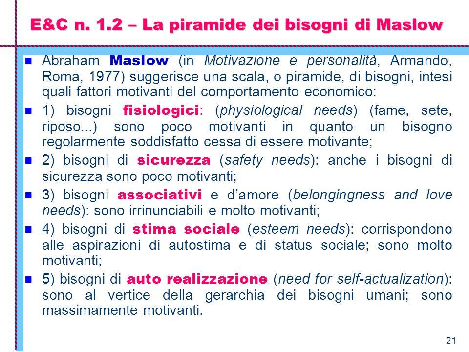 E&C n. 1.2 – La piramide dei bisogni di Maslow