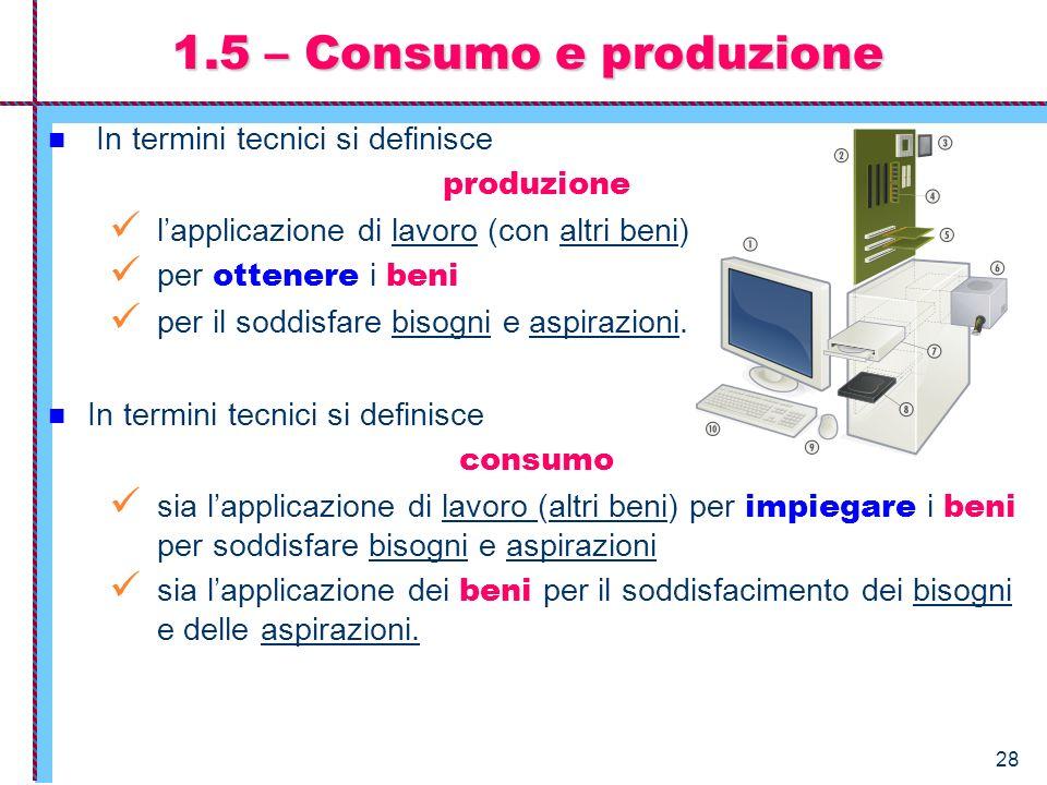 1.5 – Consumo e produzione In termini tecnici si definisce produzione