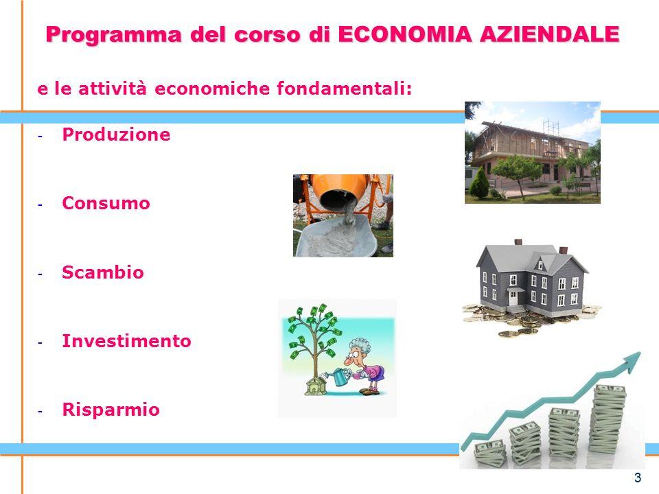 Programma del corso di ECONOMIA AZIENDALE