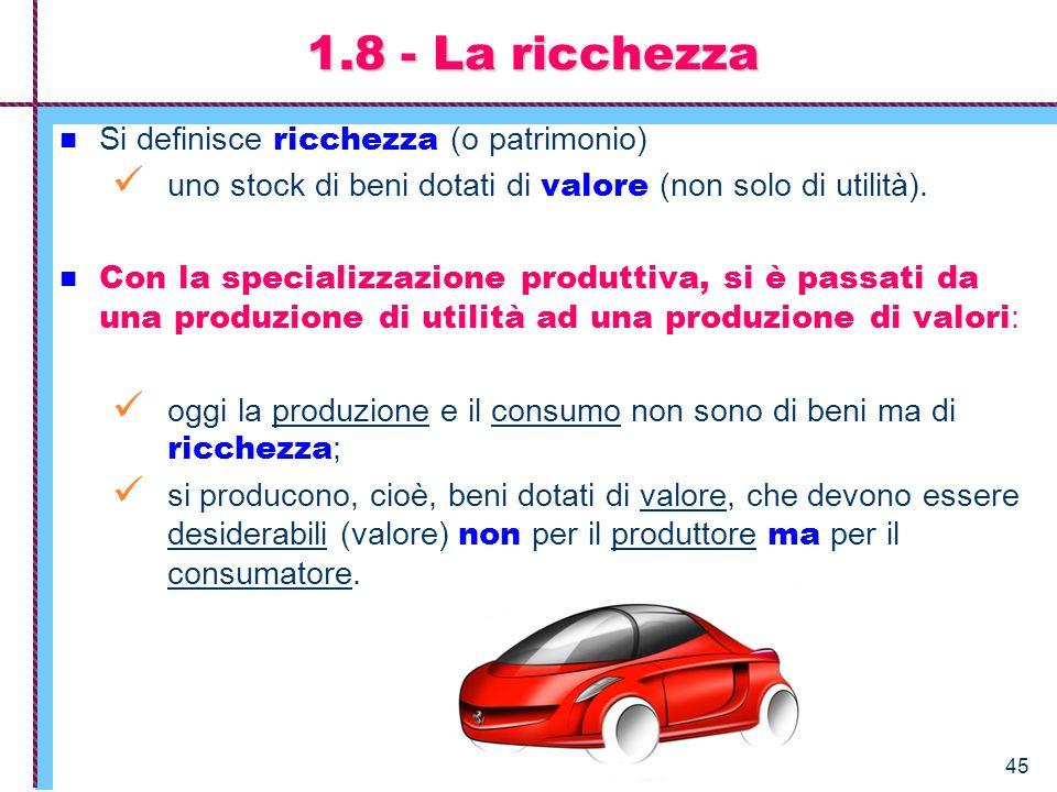 1.8 - La ricchezza Si definisce ricchezza (o patrimonio)