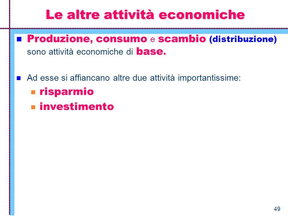 Le altre attività economiche