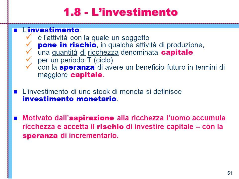 1.8 - L'investimento L investimento: