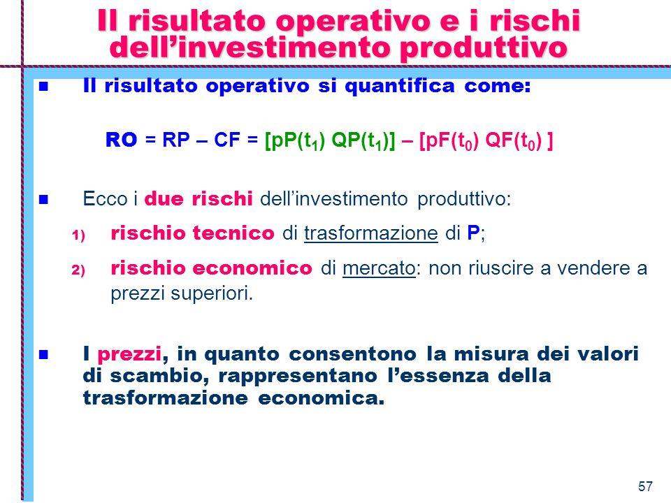 Il risultato operativo e i rischi dell'investimento produttivo
