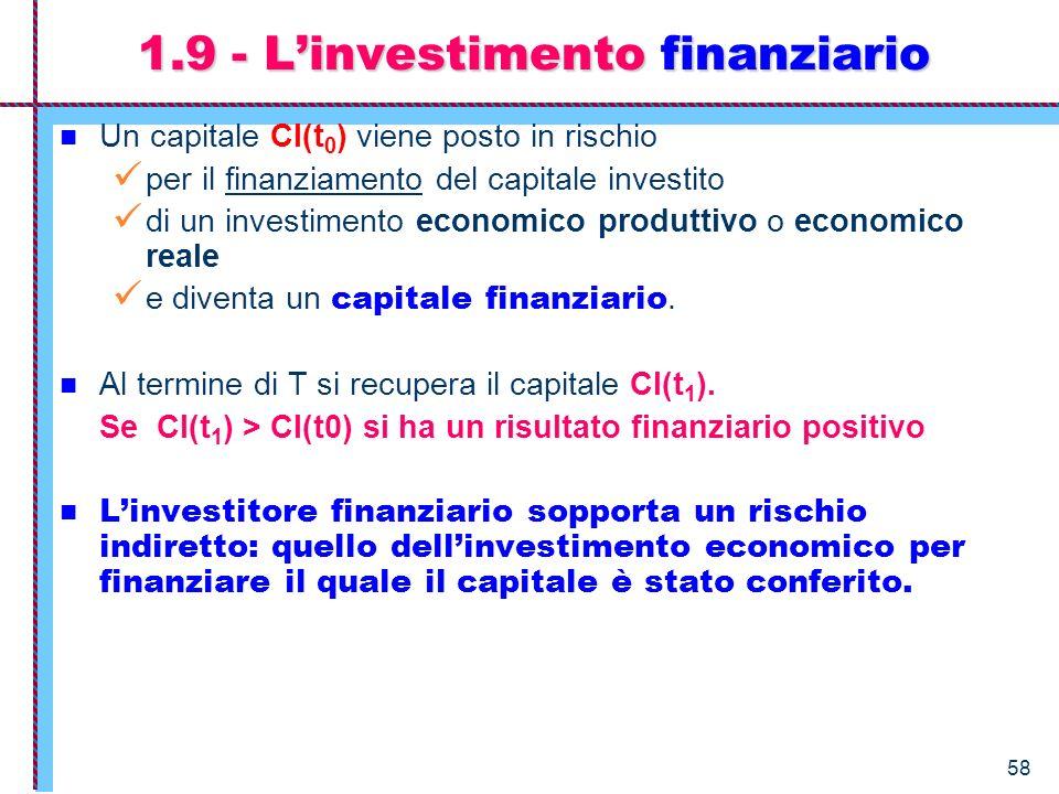 1.9 - L'investimento finanziario