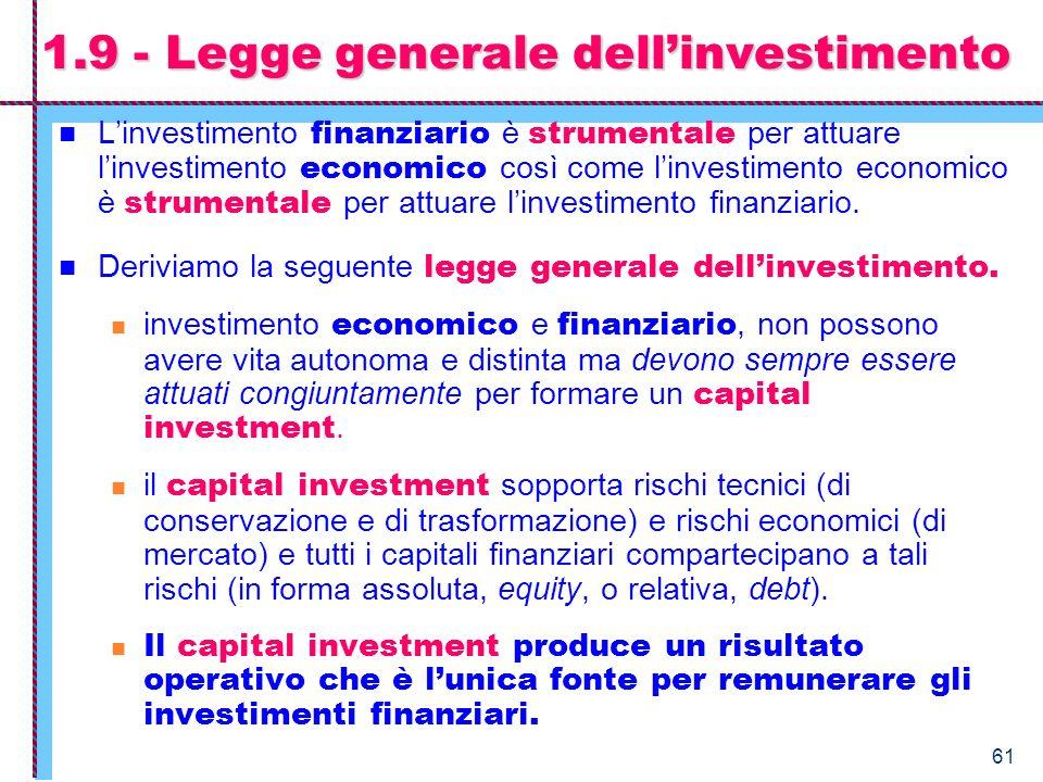1.9 - Legge generale dell'investimento