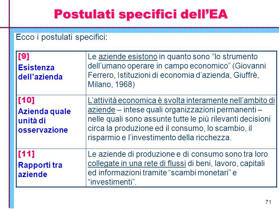 Postulati specifici dell'EA
