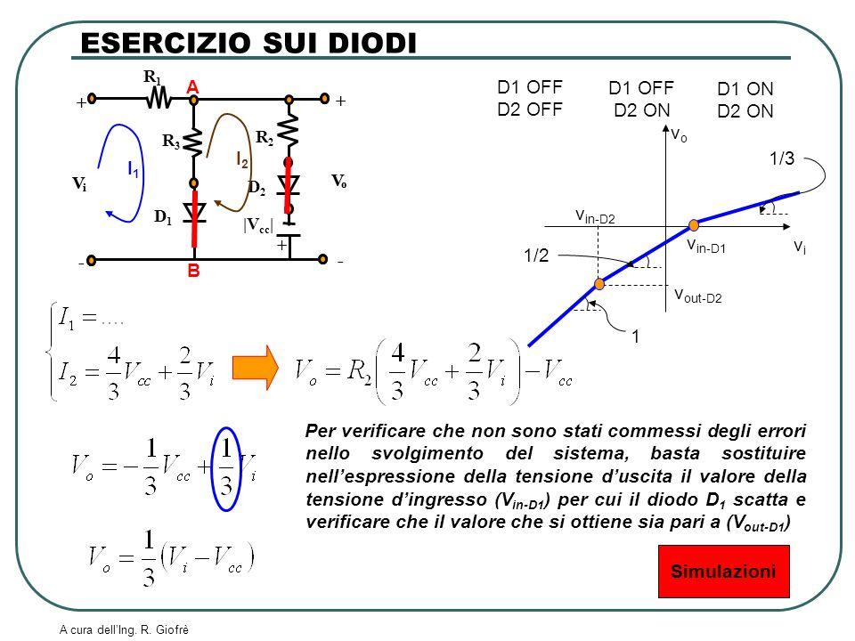ESERCIZIO SUI DIODI A B I1 I2 D1 OFF D2 OFF D1 OFF D2 ON D1 ON D2 ON