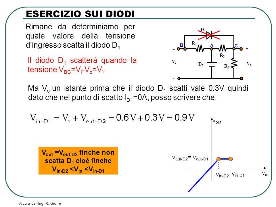 ESERCIZIO SUI DIODI Rimane da determiniamo per quale valore della tensione d'ingresso scatta il diodo D1.
