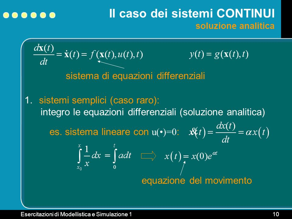 Il caso dei sistemi CONTINUI soluzione analitica