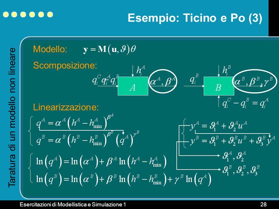 Esempio: Ticino e Po (3) Modello: Scomposizione: