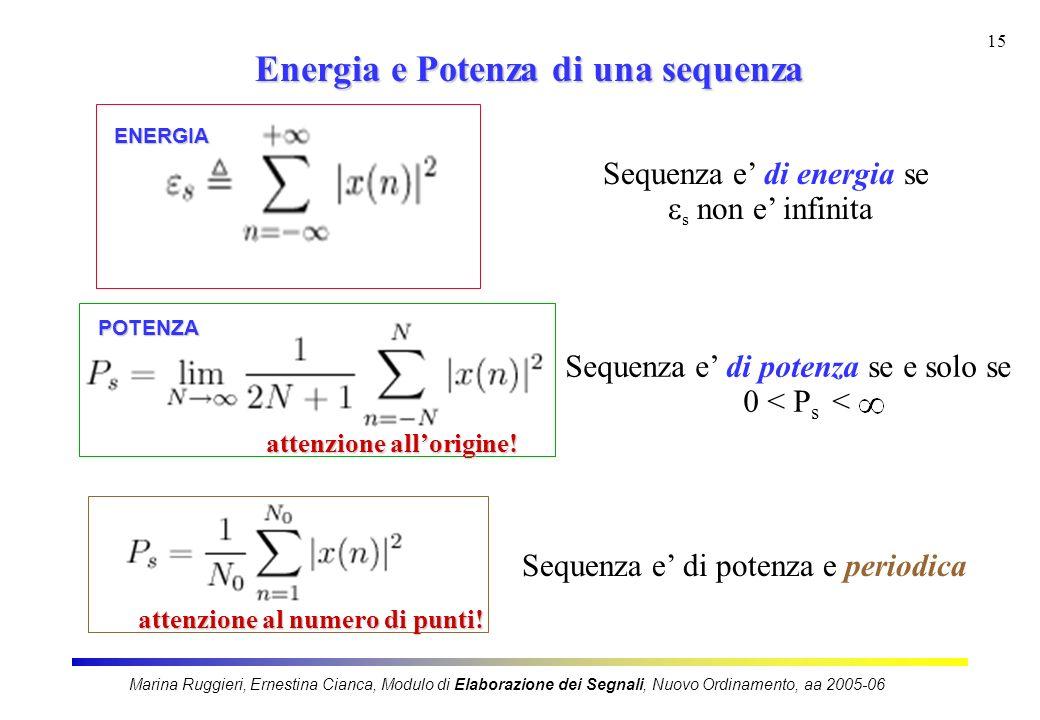 Energia e Potenza di una sequenza