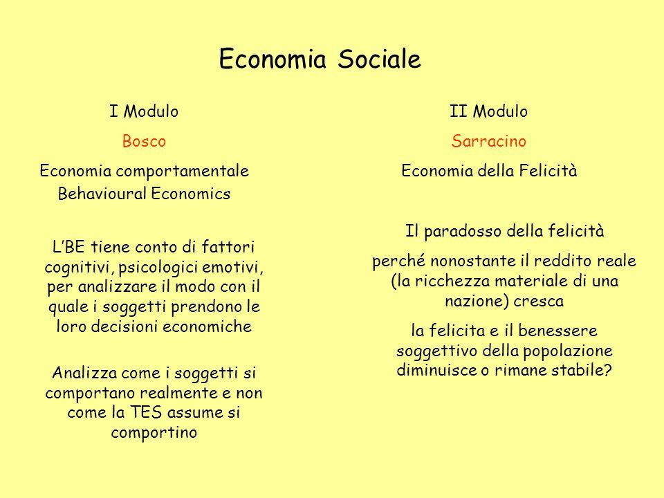 Economia Sociale I Modulo Bosco Economia comportamentale