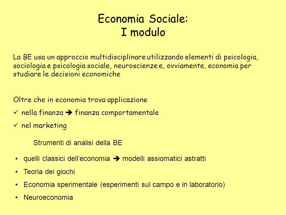 Economia Sociale: I modulo