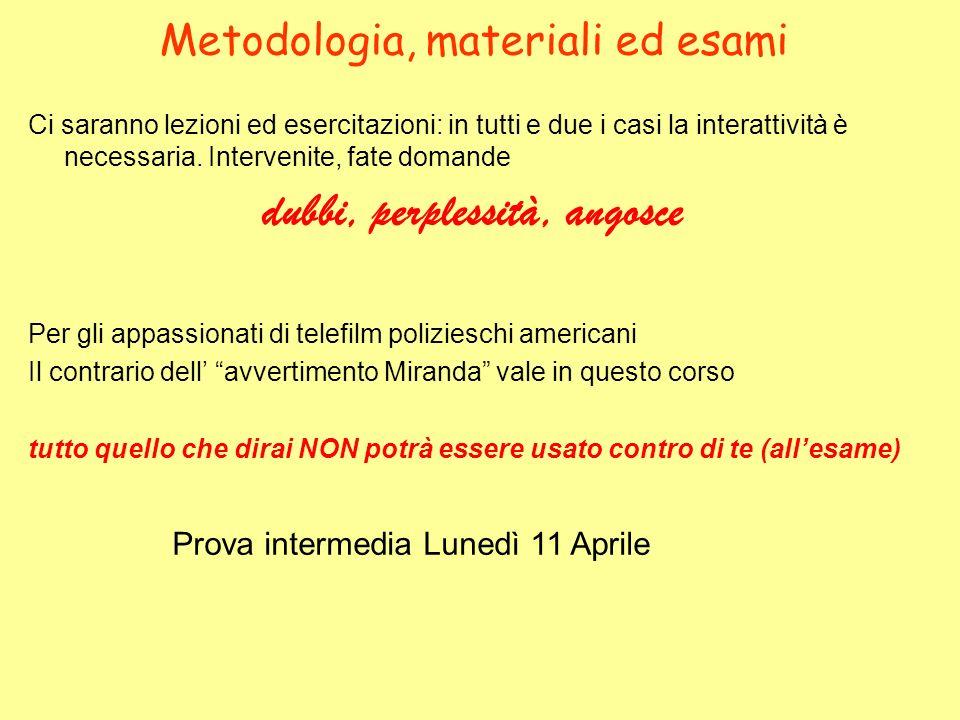 Metodologia, materiali ed esami