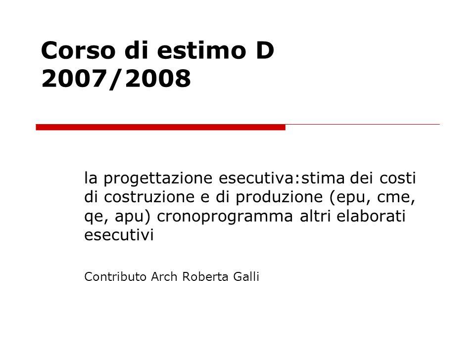 Corso di estimo D 2007/2008