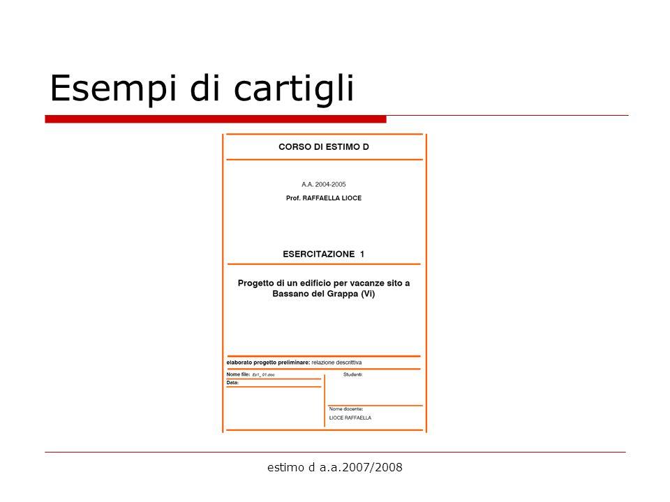Esempi di cartigli estimo d a.a.2007/2008