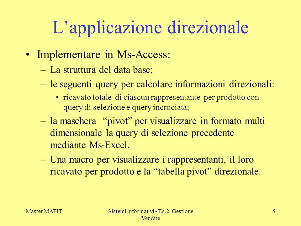 L'applicazione direzionale