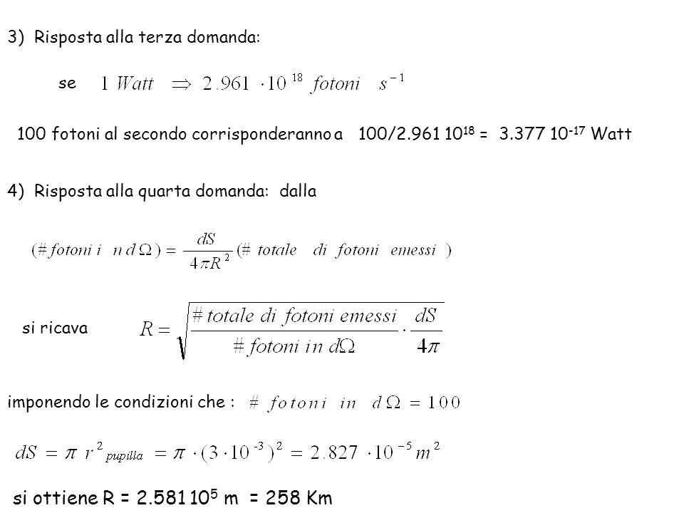 si ottiene R = 2.581 105 m = 258 Km 3) Risposta alla terza domanda: se