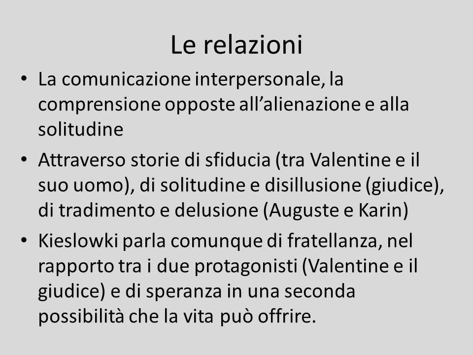Le relazioni La comunicazione interpersonale, la comprensione opposte all'alienazione e alla solitudine.