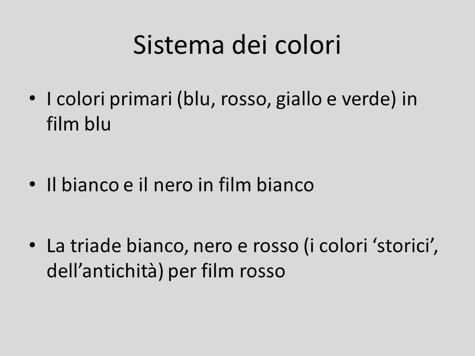 Sistema dei colori I colori primari (blu, rosso, giallo e verde) in film blu. Il bianco e il nero in film bianco.