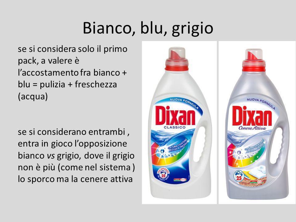 Bianco, blu, grigio se si considera solo il primo pack, a valere è l'accostamento fra bianco + blu = pulizia + freschezza (acqua)
