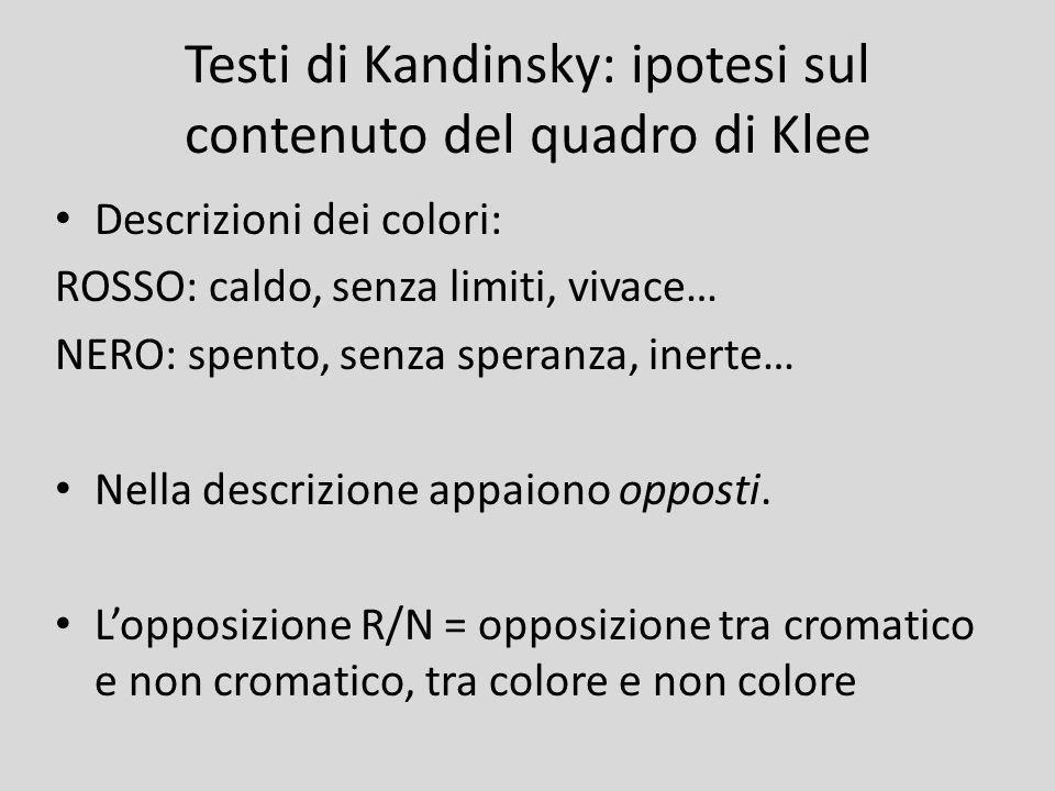 Testi di Kandinsky: ipotesi sul contenuto del quadro di Klee