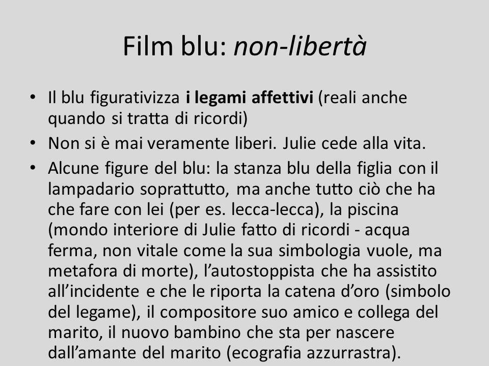 Film blu: non-libertà Il blu figurativizza i legami affettivi (reali anche quando si tratta di ricordi)