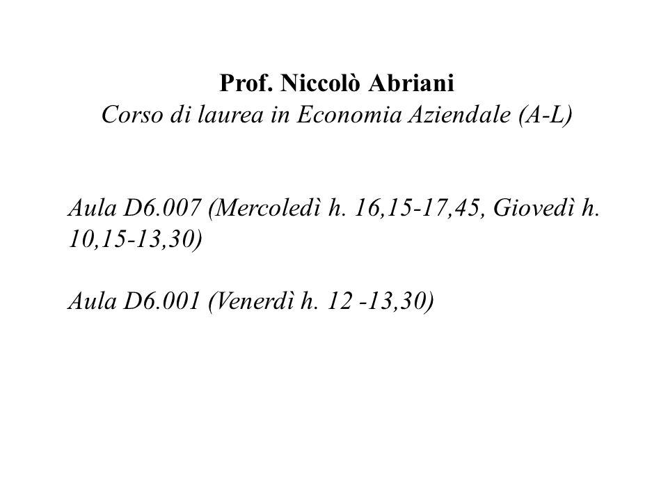 Corso di laurea in Economia Aziendale (A-L)