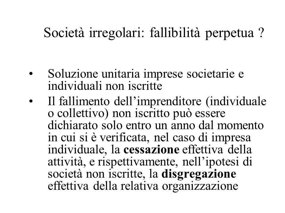 Società irregolari: fallibilità perpetua