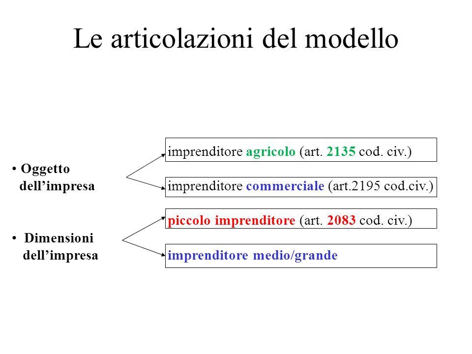 Le articolazioni del modello