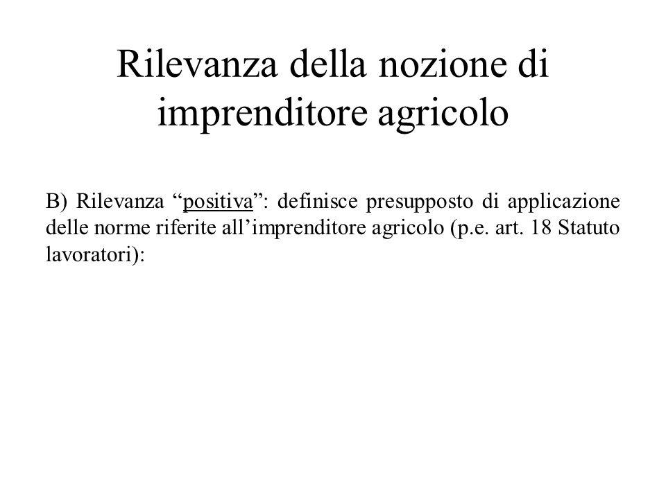 Rilevanza della nozione di imprenditore agricolo